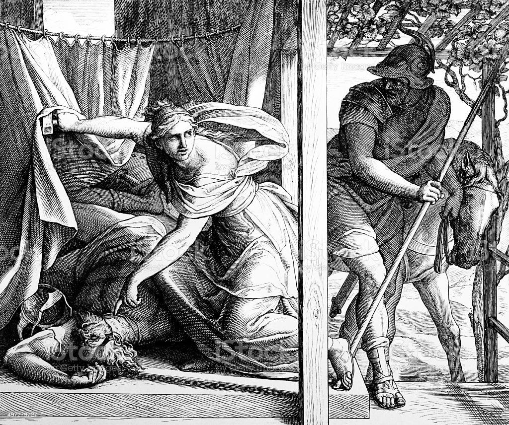 Jael Shows Barak the Body of Sisera royalty-free stock vector art