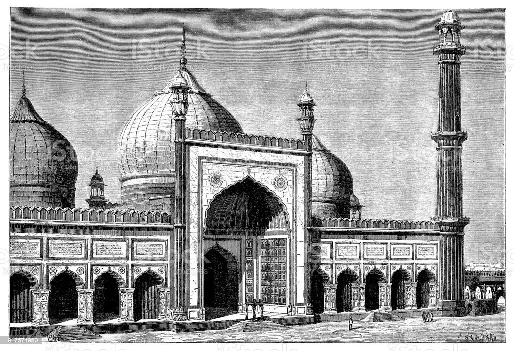 Jama Masjid mosque in Delhi vector art illustration