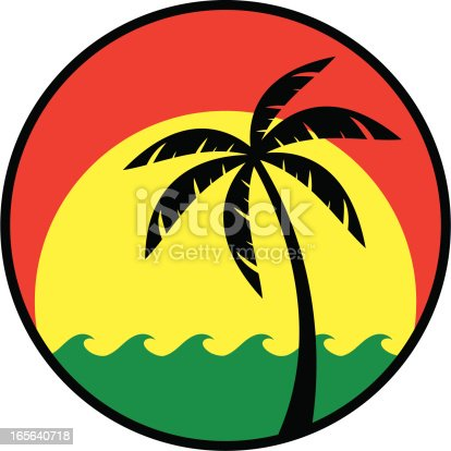 red green and yellow tropical rasta logo