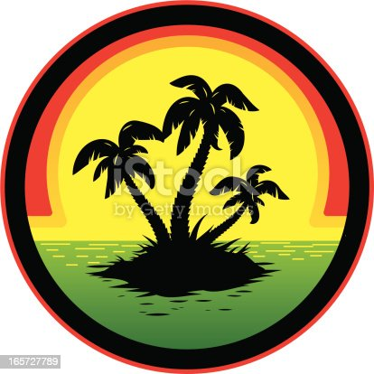 Jamaican rasta themed sunset graphic