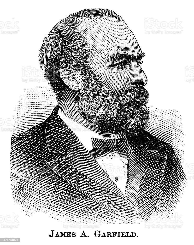 James A. Garfield - Antique Engraved Portrait vector art illustration