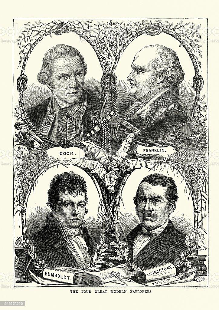 James Cook, John Franklin, Alexander von Humboldt, David Livings vector art illustration