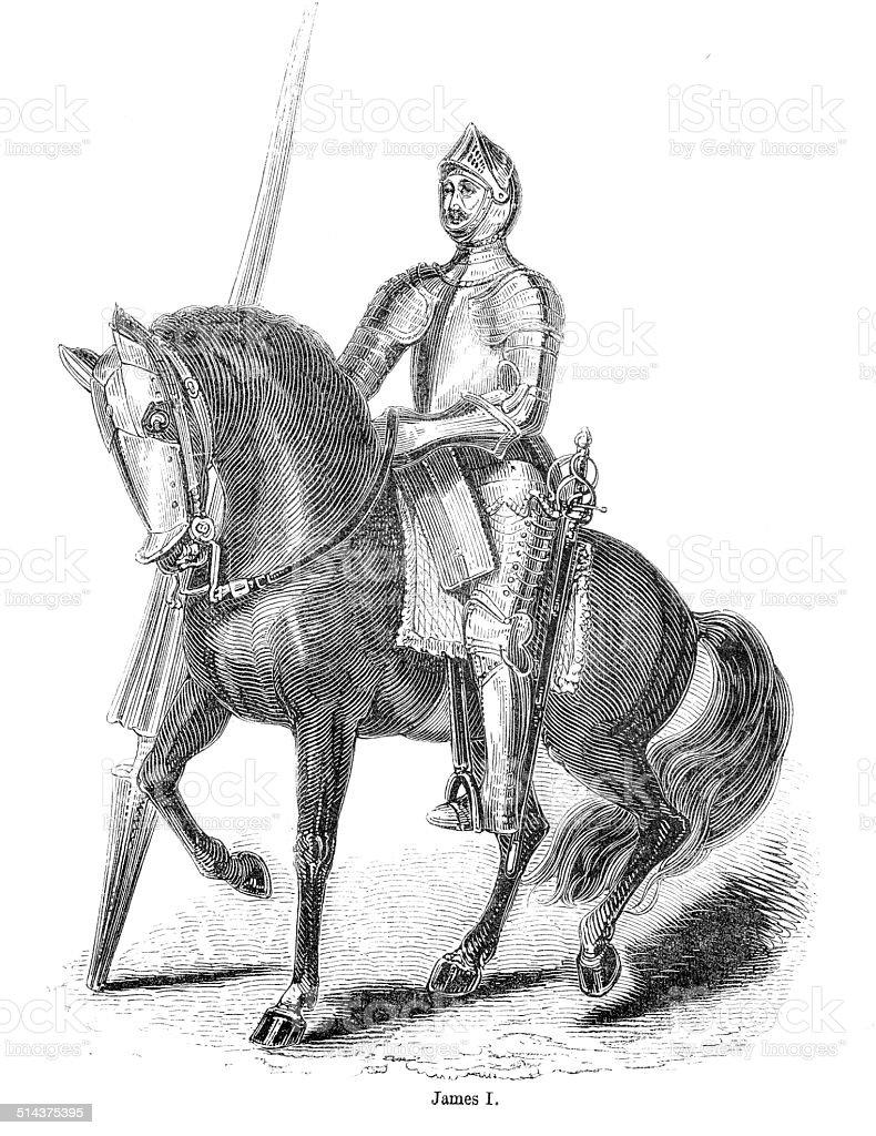 James I Engraving vector art illustration