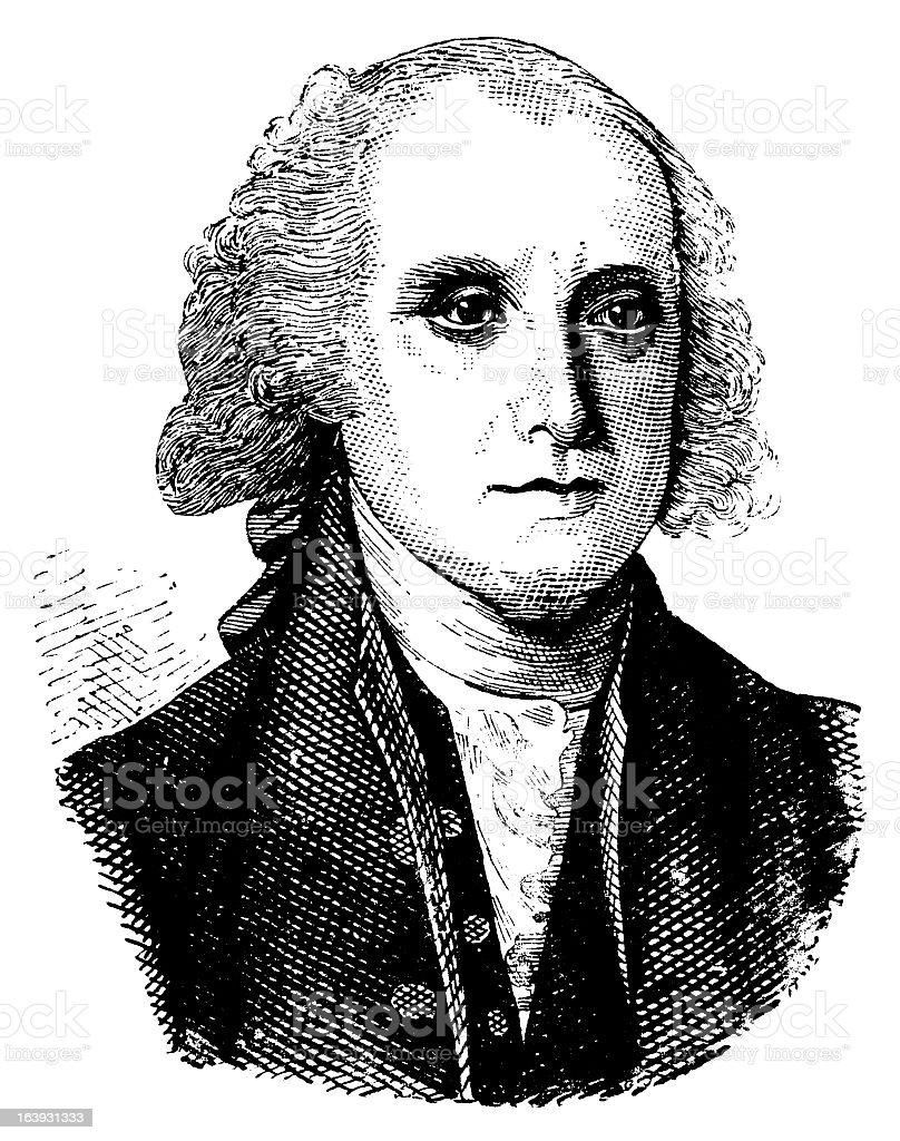 James Madison - Antique Engraved Portrait royalty-free stock vector art