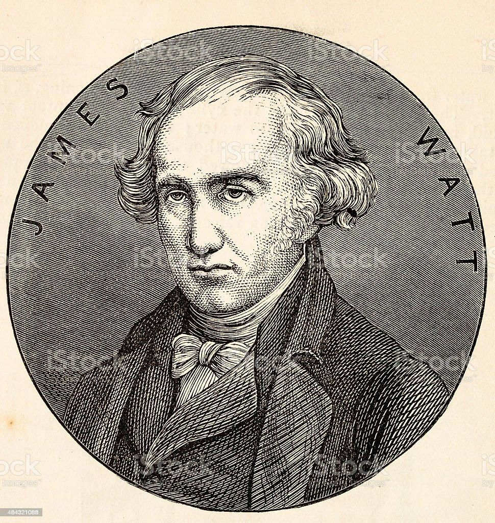 James Watt, inventor, a 19 century technical illustration vector art illustration