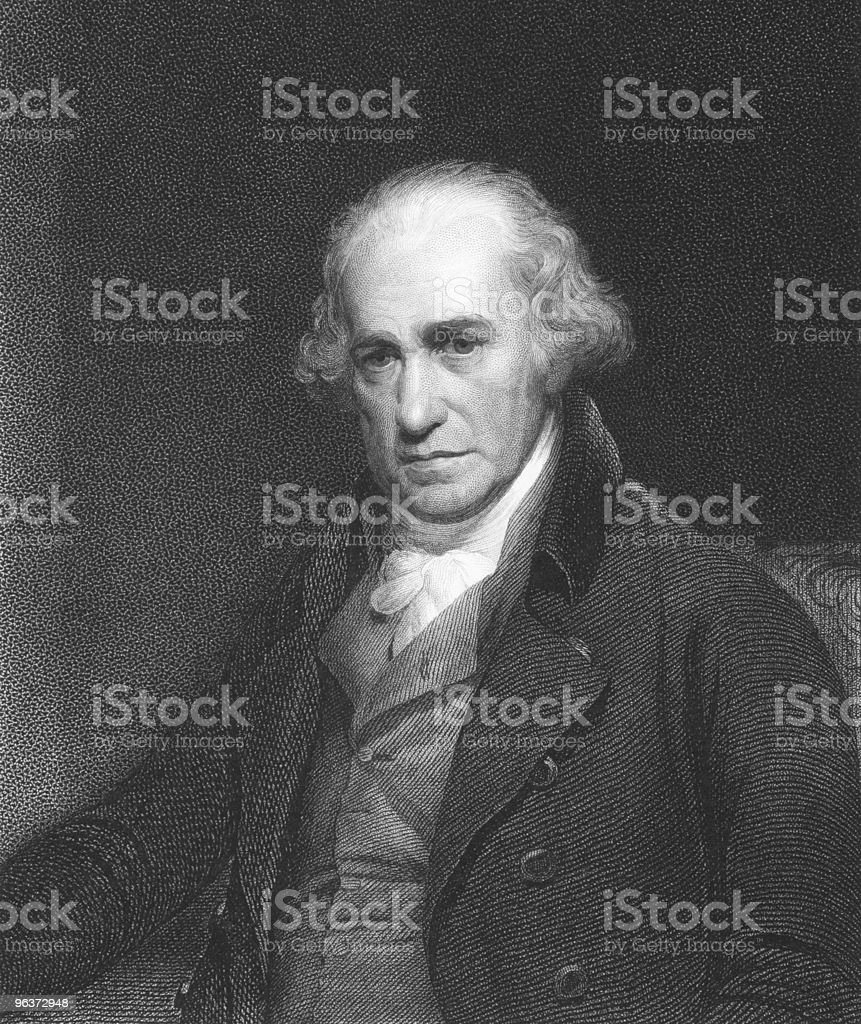 James Watt posing for a picture on a black background vector art illustration