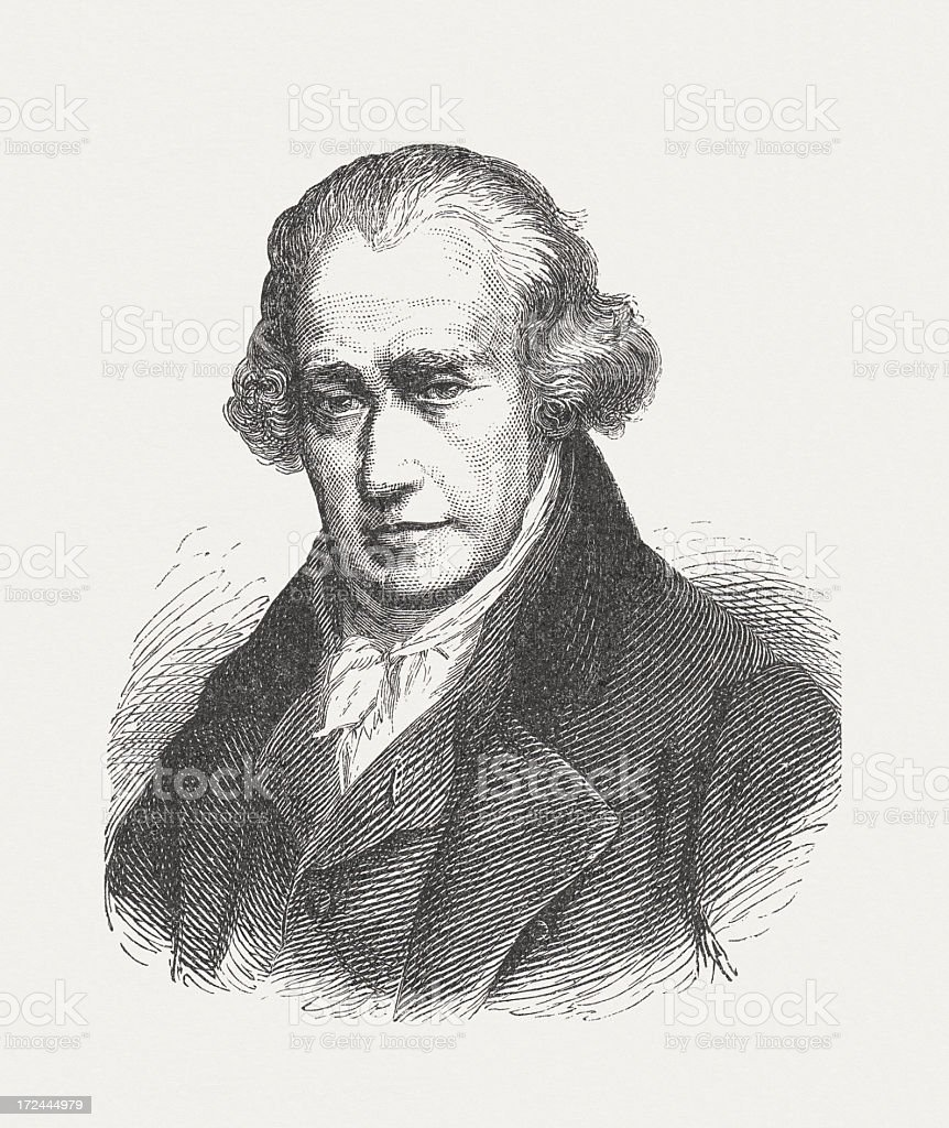 James Watt (1736-1819), Scottish engineer, wood engraving, published in 1882 vector art illustration