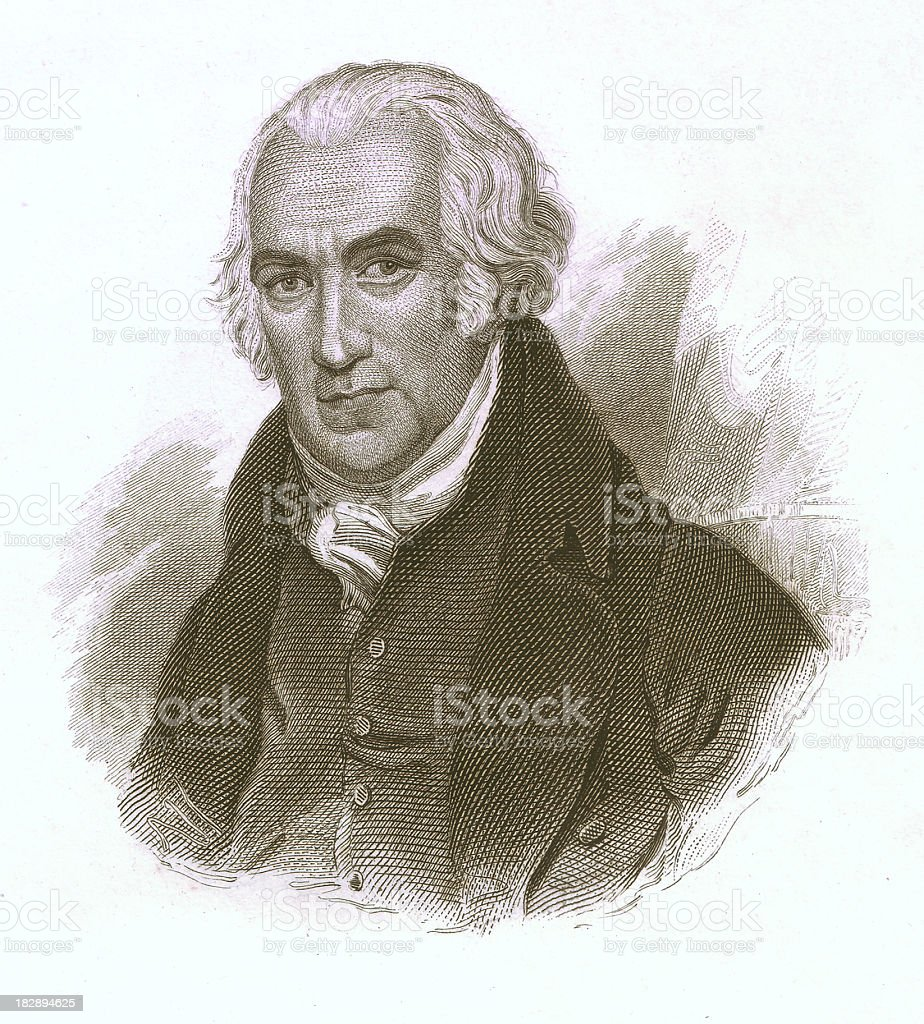 James Watt (1736-1819), steel engraving, published c. 1850 vector art illustration