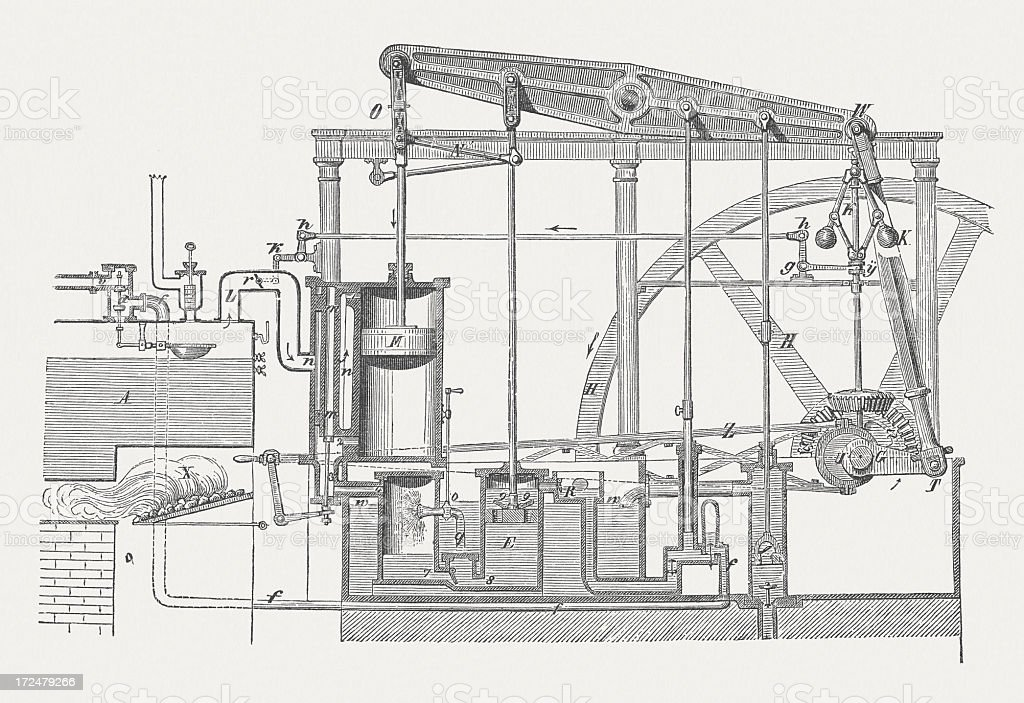 James Watt's double-acting steam engine (1769), wood engraving, published 1882 vector art illustration