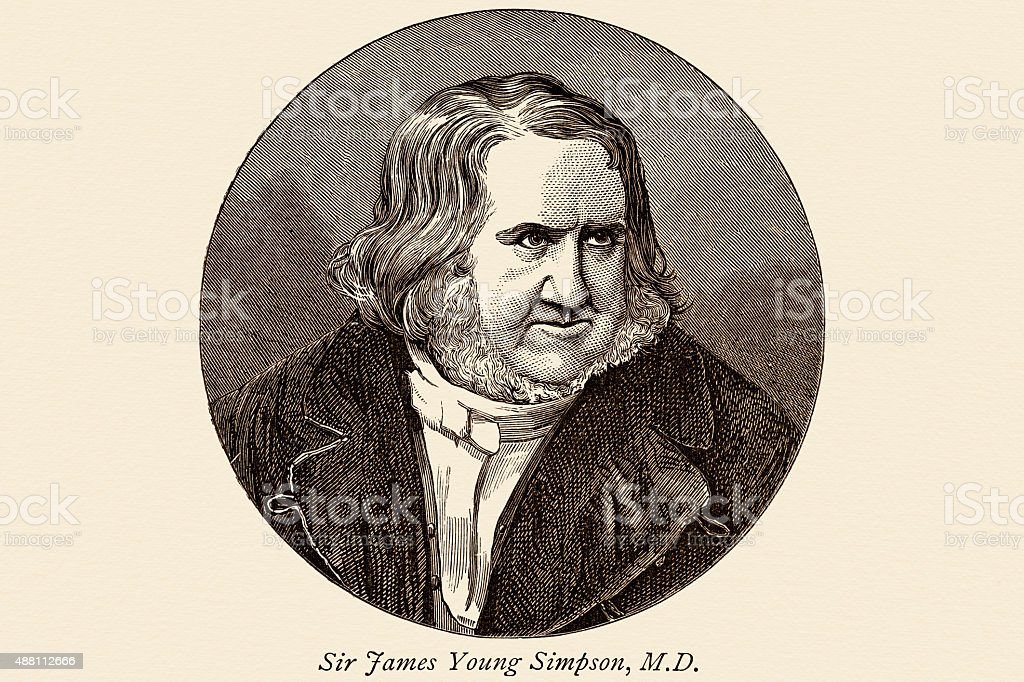 James Young Simpson Scottish anesthesiologist vector art illustration