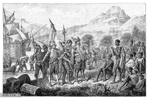 Illustration of a Jan van Riebeeck arrives in Table Bay in April 1652