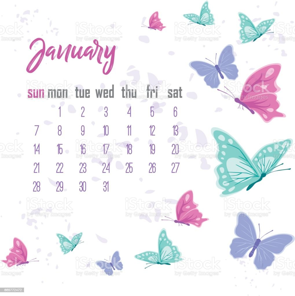 Cute January Calendar Wallpaper : January desk calendar for year stock vector art