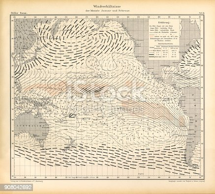 Very Rare, Beautifully Illustrated Antique Engraving of January and February Wind Patterns and Conditions Chart, Pacific Ocean, German Antique Victorian Engraving, 1896. Source: Original edition from my own archives. Copyright has expired on this artwork. Digitally restored.