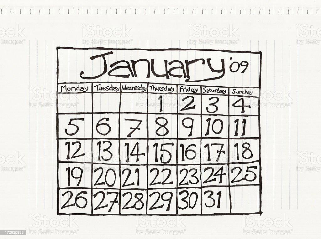 January Two Thousand & Nine royalty-free stock vector art