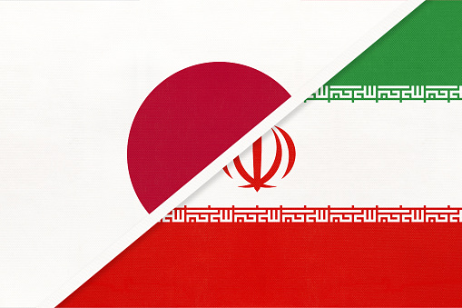 Japan and Iran, symbol of two national flags. Relationship between Asian countries.