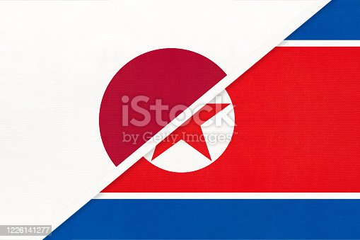 istock Japan and North Korea, symbol of two national flags. Relationship between Asian countries. 1226141277