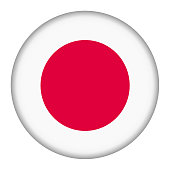 A Japan flag button illustration with clipping path