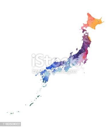 Japan Raster Map Watercolor Illustration