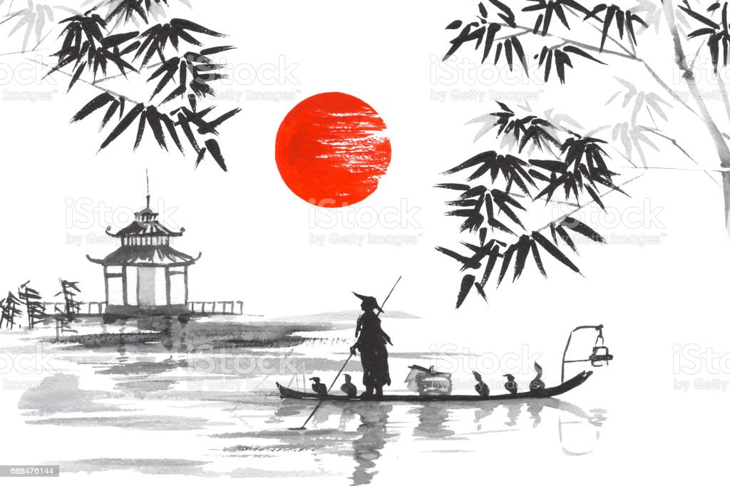 Japan Traditional japanese painting Sumi-e art Japan Traditional japanese painting Sumi-e art Man with boat vector art illustration