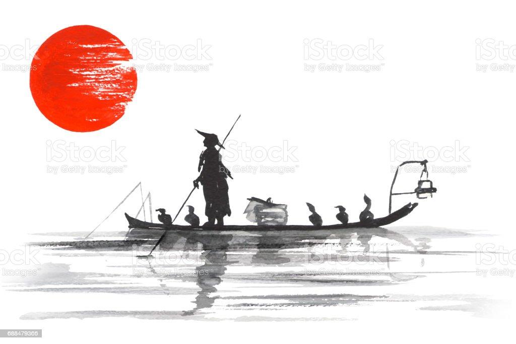 Traditionelle Japan Japanische Malerei Sumie Kunst Japan Traditionellen Japanischen Malerei Sumie Kunst Mann Mit Boot Stock Vektor Art Und Mehr Bilder Von Aquarell Istock