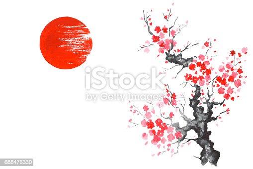 istock Japan Traditional japanese painting Sumi-e art Sakura Sun 688476330