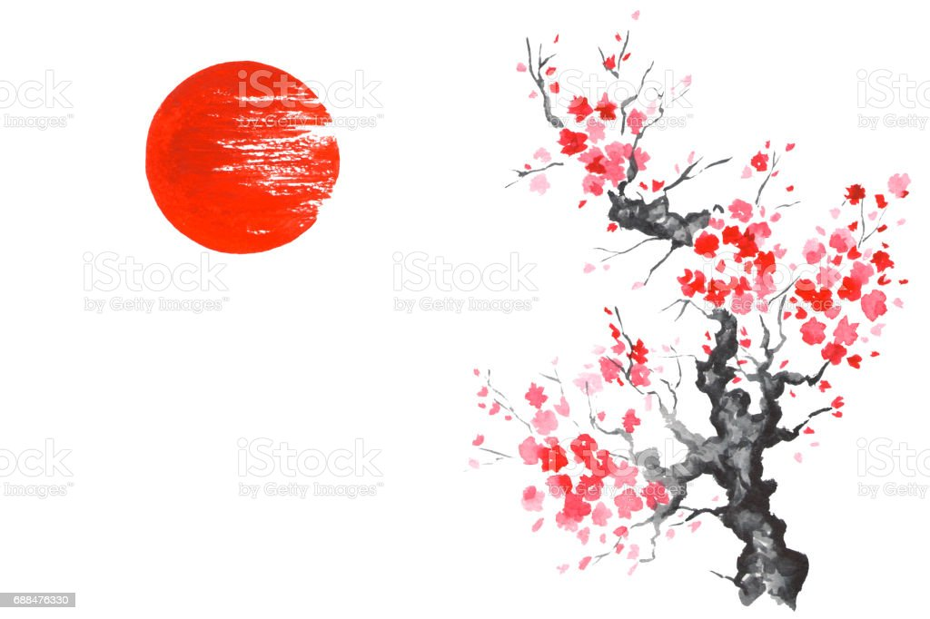 Japan Traditional japanese painting Sumi-e art Sakura Sun - illustrazione arte vettoriale