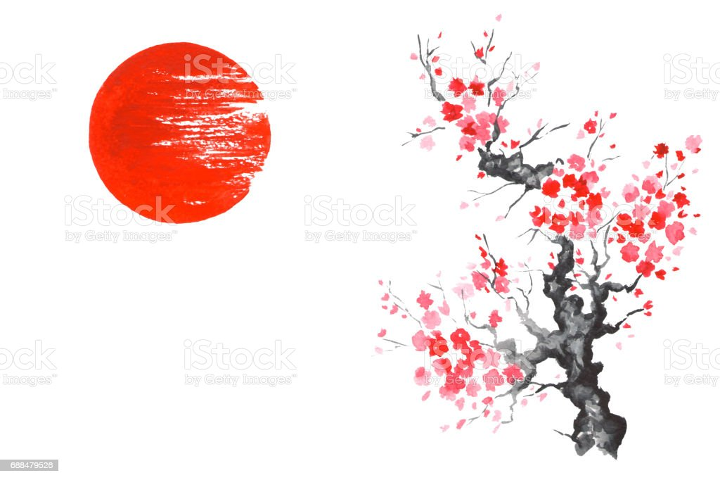 japan traditional japanese painting sumie art sakura sun
