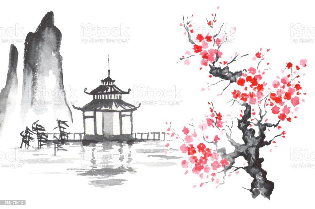 Traditionellen Japanischen Malerei Sumie Kunst Sakura Tempel Japan Stock Vektor Art Und Mehr Bilder Von Anhohe Istock
