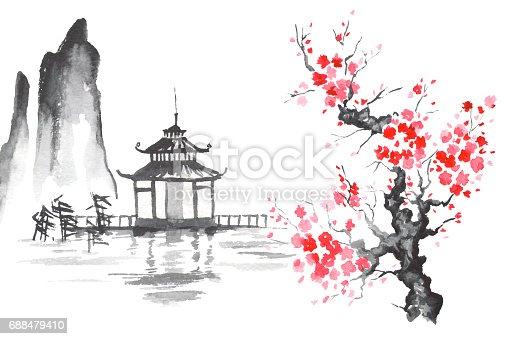 Japan Traditional Japanese Painting Sumie Art Sakura