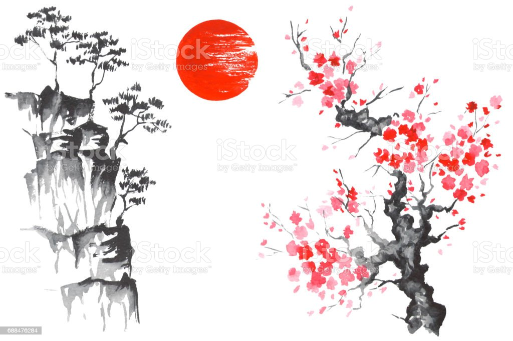 Japan Traditional Japanese Painting Sumie Art Sun Sakura Stock Illustration Download Image Now Istock