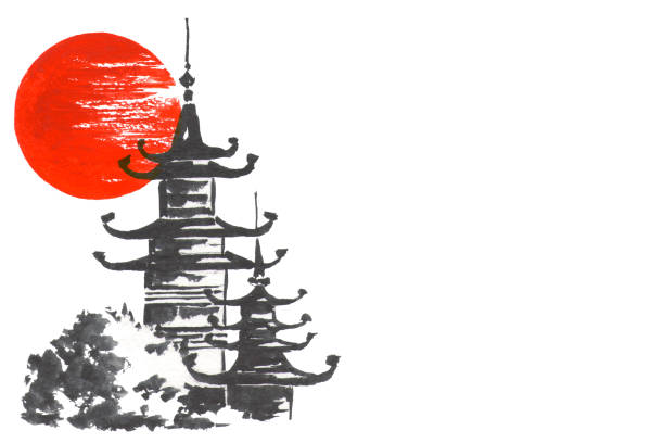 Japan Traditional japanese painting Sumi-e art Temple and sun vector art illustration