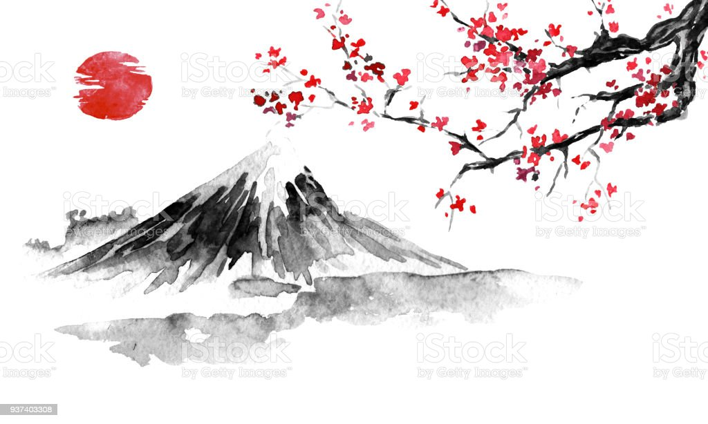 japan traditional sumie painting fuji mountain sakura sunset japan