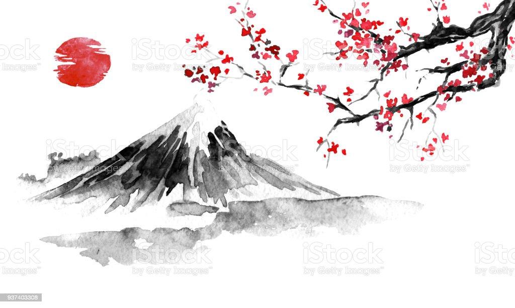 Japan traditional sumi-e painting. Fuji mountain, sakura, sunset. Japan sun. Indian ink illustration. Japanese picture. vector art illustration