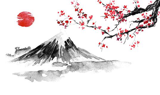 Japan Traditional Sumie Painting Fuji Mountain Sakura Sunset Japan ...
