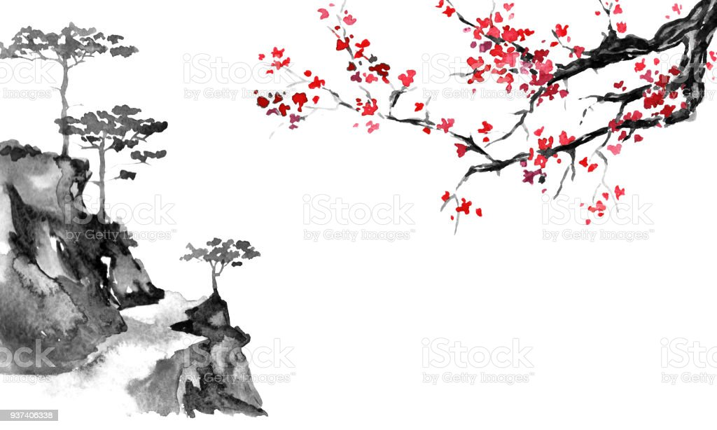 Japan traditional sumi-e painting. Indian ink illustration. Japanese picture. Sakura and mountains vector art illustration