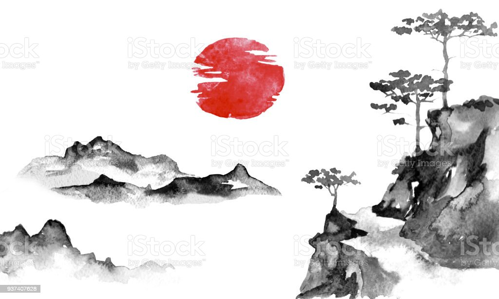 japan traditional sumie painting indian ink illustration japanese
