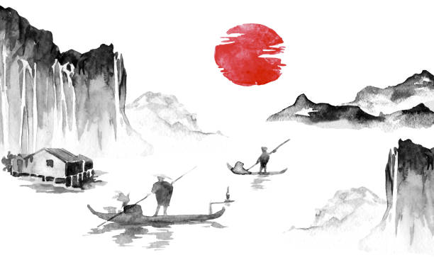 Japan traditional sumi-e painting. Indian ink illustration. Japanese picture. Man, boat, mountains vector art illustration