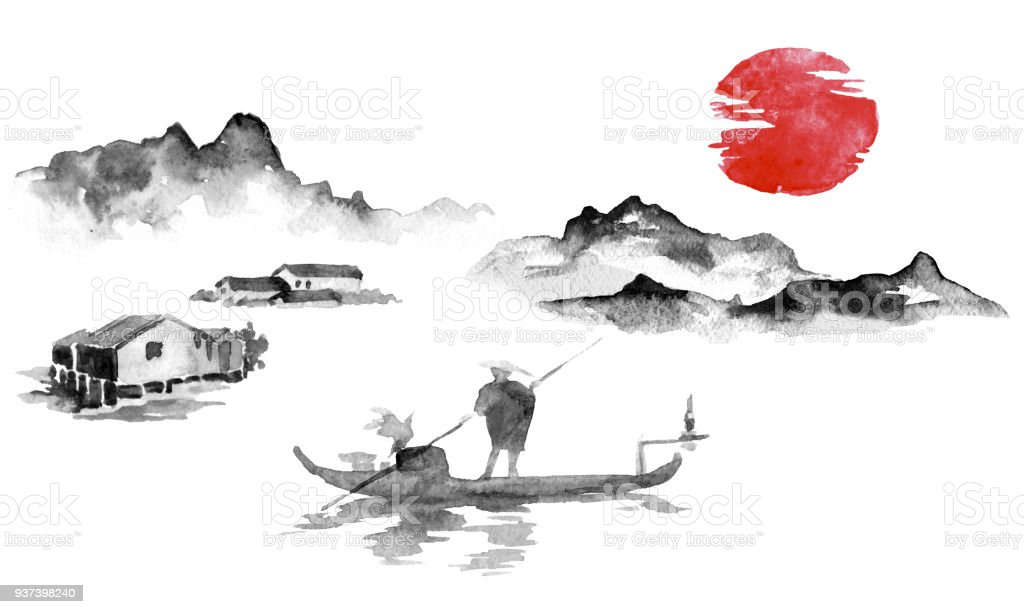 Japan traditional sumi-e painting. Indian ink illustration. Man and boat. Sunset, dusk. Japanese picture. vector art illustration