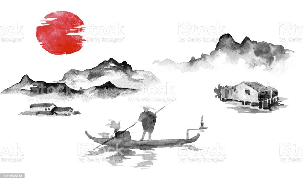 japan traditional sumie painting indian ink illustration man and
