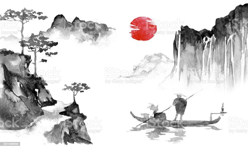 Japan Traditionell Sumi E Malerei. Tusche Abbildung. Mann Und Boot.  Sonnenuntergang
