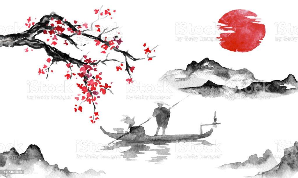 Japan Traditionell Sumi E Malerei. Tusche Abbildung. Mann Und Boot.  Berglandschaft