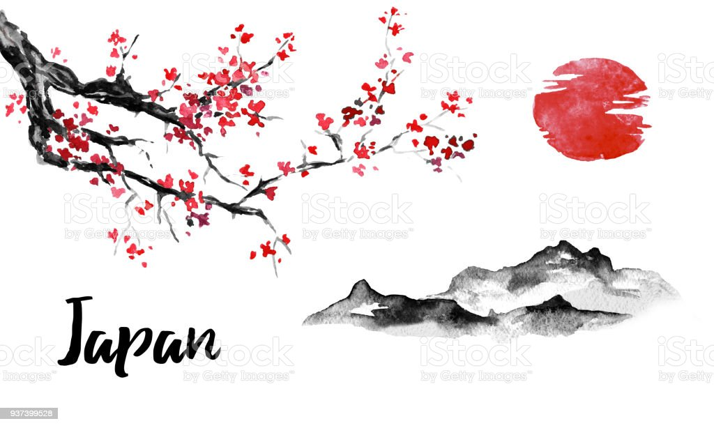 japan traditional sumie painting sakura cherry blossom mountain and