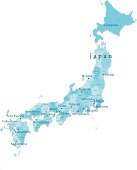 Japan Vector Map Regions Isolated