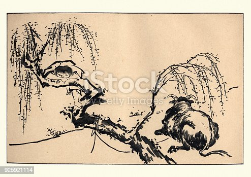 Vintage engraving of a Japanese art, Child and Cow, by Ittsho
