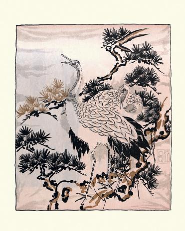 Japanese art, drawing of Cranes, Birds, Fukusa