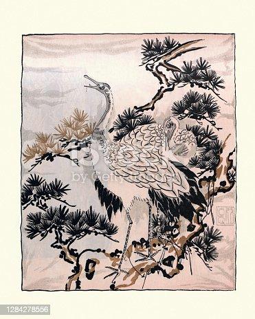 Arte japonés, dibujo de grúas, aves, Fukusa