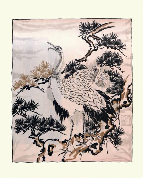 Japanese art, drawing of Cranes, Birds, Fukusa vector art illustration