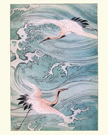 Vintage engraving of Japanese art, Storks Flying over water, 19th Century