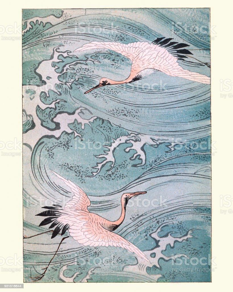 Japanese art, Storks Flying over water vector art illustration