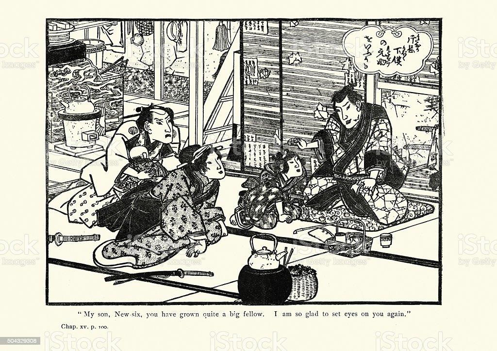 日本のアート、7 Ronin 40 ベクターアートイラスト